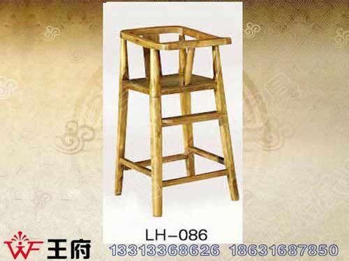 LH-086老榆木餐厅儿童座椅批发