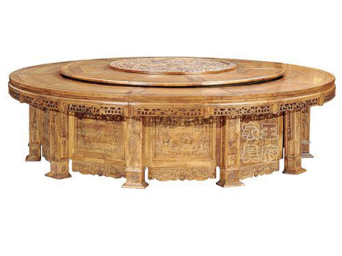 WF餐桌001老榆木餐厅圆形桌厂家