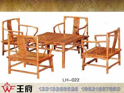 LH-022老榆木方形餐桌椅定做