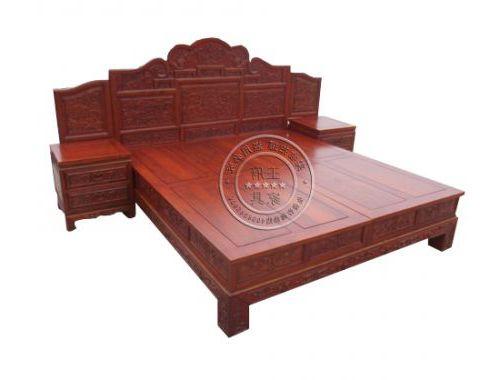 香河红木款老榆木1.8米雕刻床厂家直销