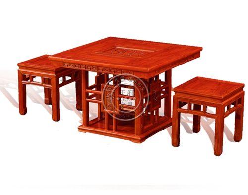 四人位老榆木方形茶台