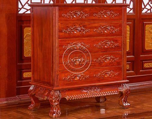 北京老榆木客厅用实木五抽屉柜子