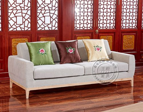 老榆木布艺沙发