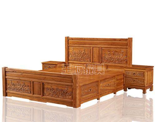 香河榆木家具价格双人床厂家