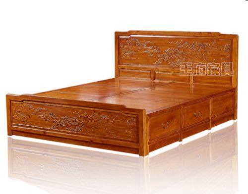 香河仿明清榆木家具床价格