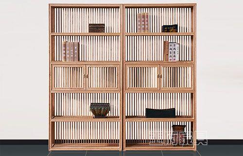 禅意原木色书房书架