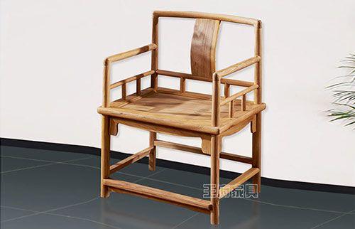 新中式原木色休闲椅子