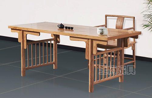 老榆木免漆古典书法桌
