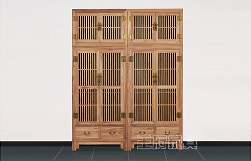 原木色榆木竖条顶箱衣柜