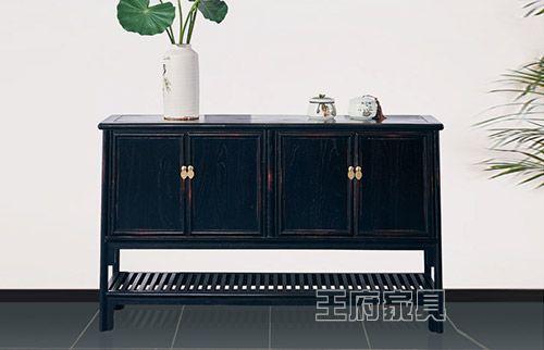 禅意黑色做旧中式客厅玄关柜