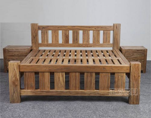 大料老榆木实木卧室床