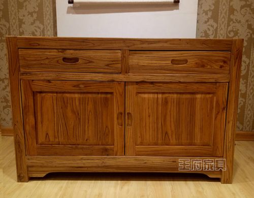 老榆木原木色大料储物柜