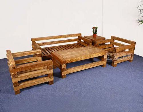 榆木本木色大料沙发五件套