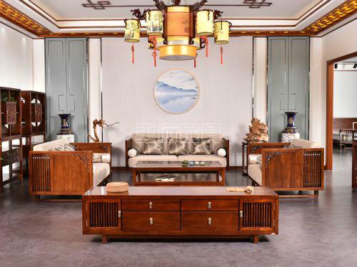 榆木中式沙发