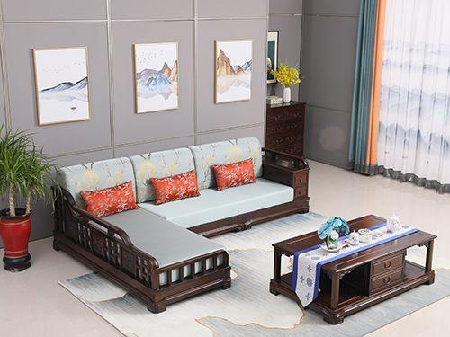 中式老榆木转角沙发