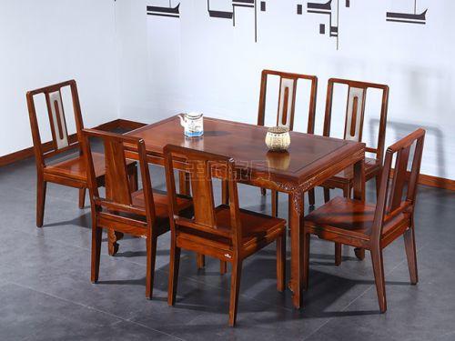 榆木实木餐桌餐椅