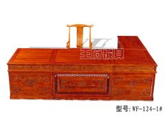 三米老榆木雕花大书桌