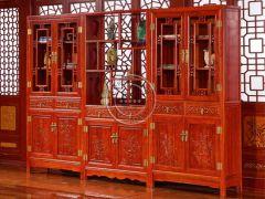 老榆木山水雕花书柜
