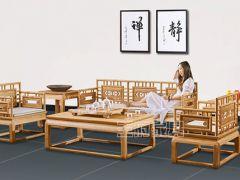 原木色新中式禅意沙发