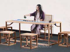 新中式实木茶楼家具