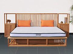榆木新古典禅意卧室床