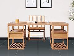 原木色免漆老榆木办公桌