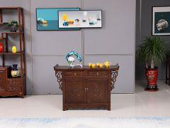 客厅雕花老榆木茶水柜
