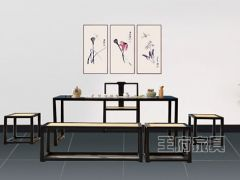 新古典中式榆木餐厅桌椅