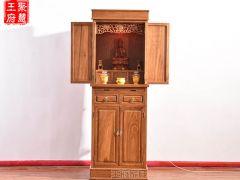 供奉财神观音带门佛像供桌