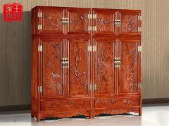 老榆木花鸟衣柜