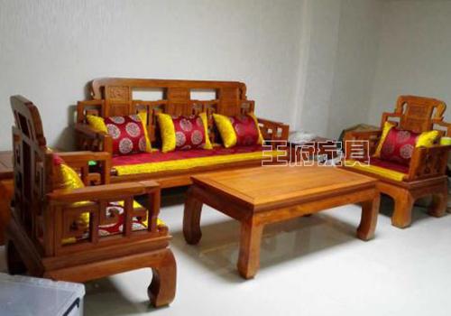 中式老榆木沙发图片
