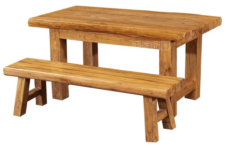 香河实木餐桌椅图片-王府老榆木家具厂家
